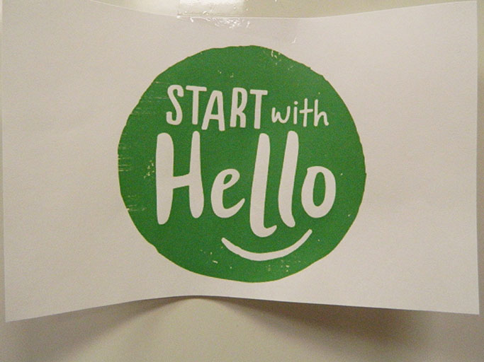 Start with a Hello Week is a week dedicated to branching out beyond students' friend groups. AC4P participated by writing encouraging post-it notes and posting them on lockers.