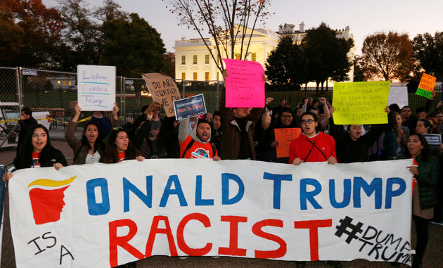 People protest against U.S. president-elect Donald Trump in front of the White House in Washington, U.S., November 10, 2016. REUTERS/Kevin Lamarque