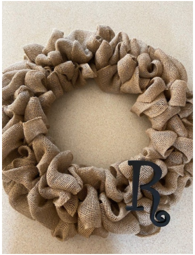 Freshman Jessica Reece made a wreath out of burlap for her family door.