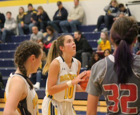 Julia Laudato shooting a free throw the game against Springfield