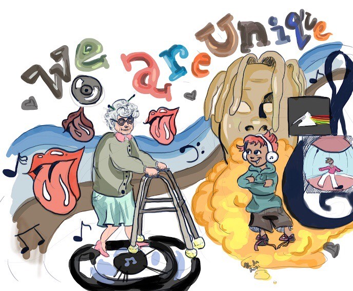 Older generations may insist that today's music just is not what it used to be, that it is inappropriate and overly auto-tuned. Yet reporter Jessica Wyno (and Rida Shaikh, through this artwork), show that if people still vibe with it, the music is meaningful.