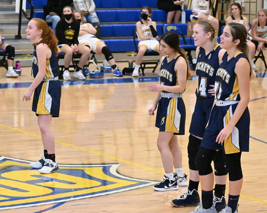 Rockets share a laugh at Coventry. (From left: Freshman Cara Tiller, Juniors Gia Hlad and Savanna Estes, and Senior Julia Laudato) (Photo courtesy of Jessica Szczecinski)