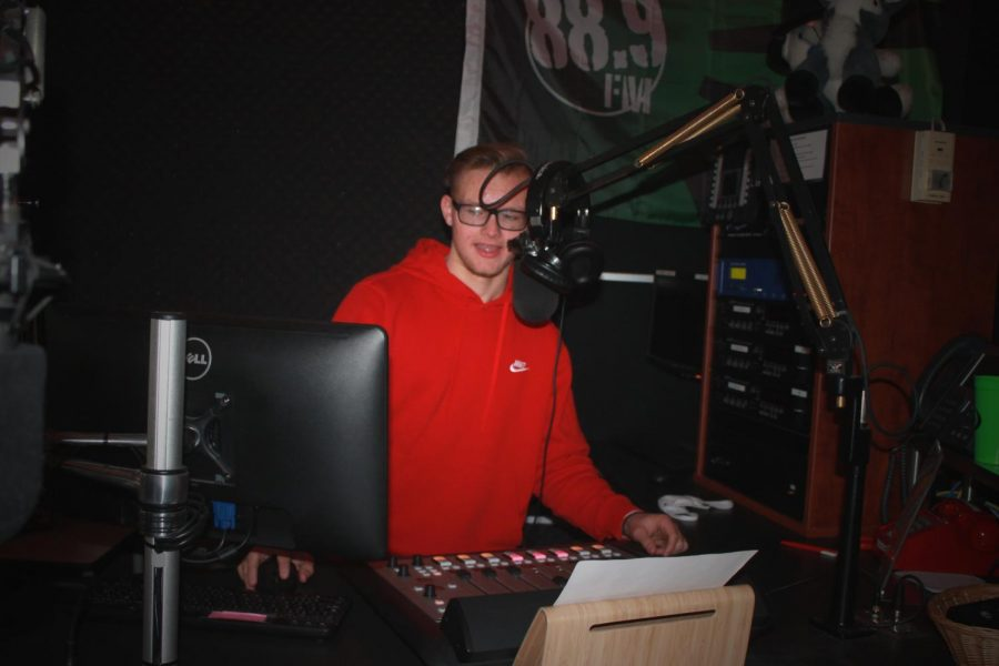 Senior Owen Stiftar works as operations manager in the school's radio station, 88.9, The Alternation.