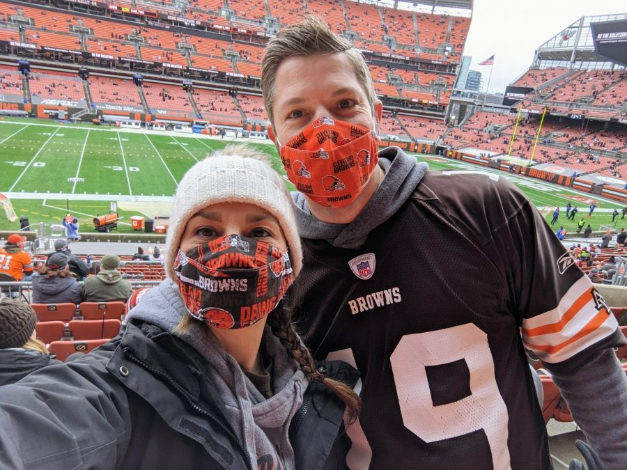 P.E. teacher Krista Romance and her husband Kevin attend the January 3 Browns vs Steelers game.