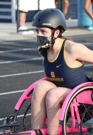 Freshman Milena Sobie prepares to compete in her first track meet April 6 at home, making history as Streetsboro's first seated runner.