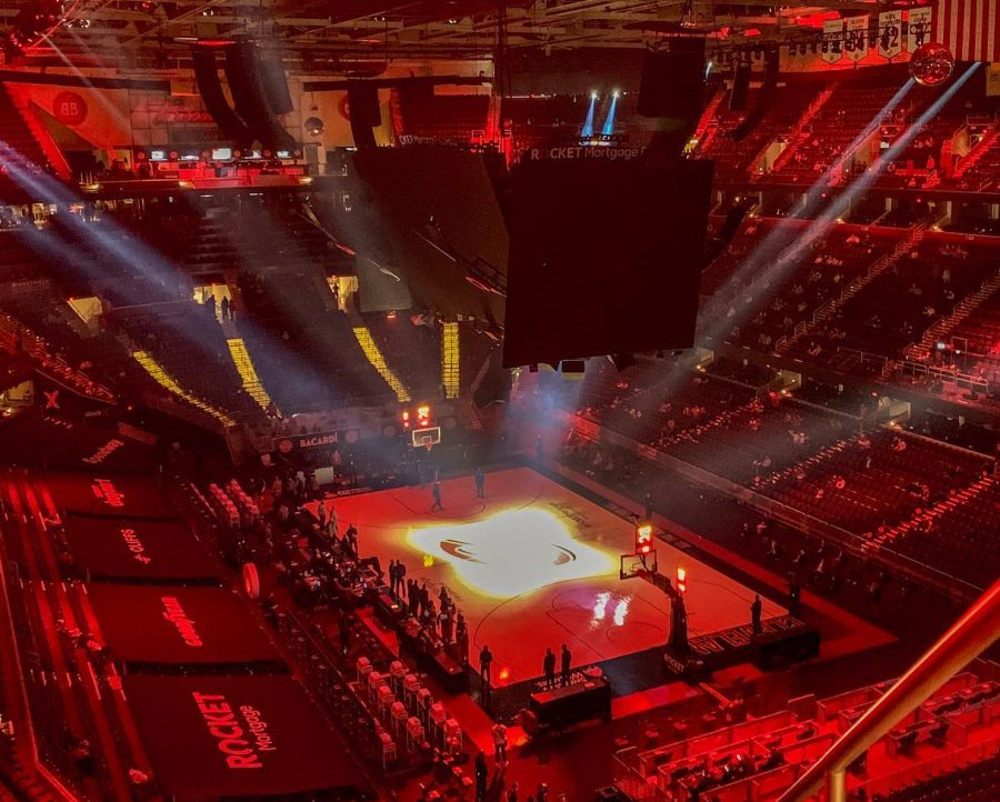 Rocket Mortgage Fieldhouse gets lit up before a Cavs game.