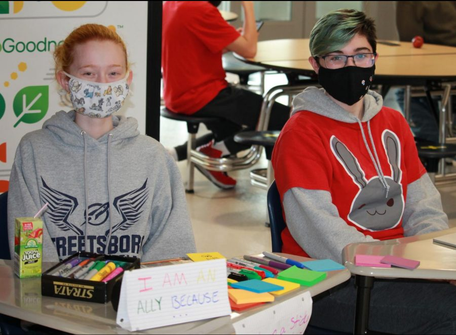Juniors River Lowery and Elise Gestring offer students and staff Post-its to write on and show their support for inclusivity at SHS during lunch periods in May.