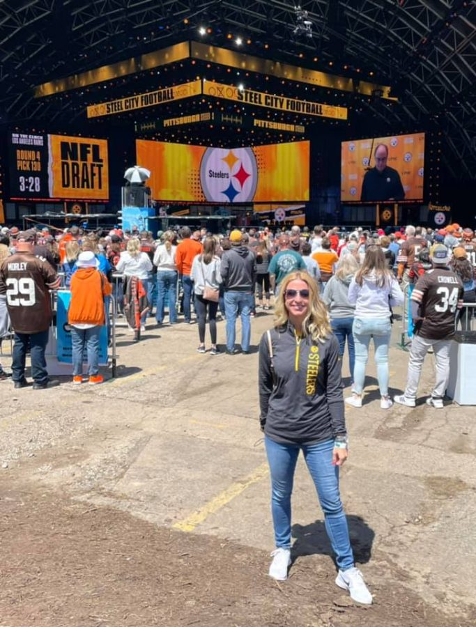 Capturing a moment at the NFL Draft held earlier this month in downtown Cleveland is English teacher Megan Rumsey.